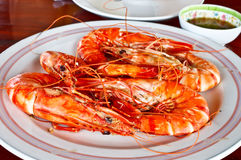 Thai seafood, steamed prawns with spicy sauce 1 Royalty Free Stock Images
