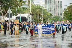 Thai secondary school students band parade marching in International Fleet Review 2017 stock photo