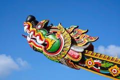 Thai serpent with blue sky. Thai architecture at wat pan ton , Nan , Thailand Stock Photo