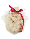 Thai Shortbread Cookies in plastic box. On white background Royalty Free Stock Photography