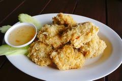 Thai shrimp cakes. Fried shrimp cakes and sauce Stock Photos