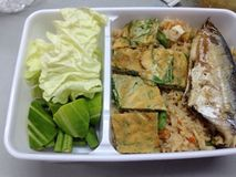 Thai shrimp paste fried rice with mackerel royalty free stock images