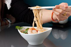 Thai Shrimp Ramen Noodles Royalty Free Stock Images