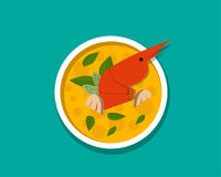 Thai shrimp soup - Tom yum Kung, top view, vector. Design Stock Images