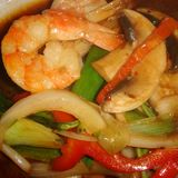Thai shrimps and vegetables. Served in a restaurant in italy stock photos