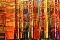 Thai Silk. Layered for sale in the market royalty free stock photo