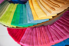 Thai silk. Colorful samples of the thai silk in the shop Stock Images