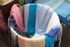 Thai Silk in Basket. Thai Silk in a Basket Royalty Free Stock Image