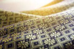 Thai silk cloth handmade for background. Thailand Royalty Free Stock Photo