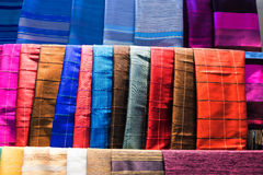 Thai silk cloths Stock Photos