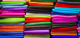 Thai silk. Colorful samples of the thai silk in the shop stock photography