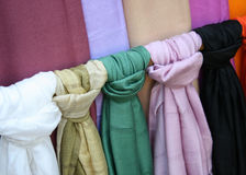 Thai silk and cotton scarves Royalty Free Stock Image