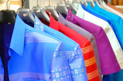 Thai silk shirt. Colorful row of Thai silk shirt Royalty Free Stock Photography