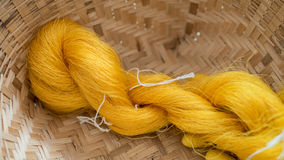 Thai silk thread and silkworm cocoons nests