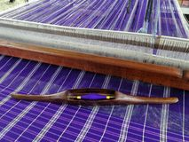 Thai Silk  tradition loom and shuttle weaving Royalty Free Stock Images