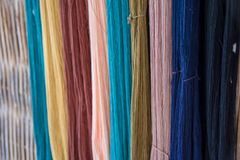 Thai silk yarn dyed natural, prepare for fabrication Royalty Free Stock Photography