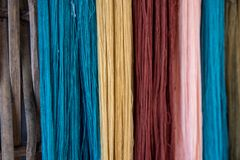 Thai silk yarn dyed natural, prepare for fabrication Stock Images