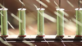 Thai silk yarn making. Royalty Free Stock Photo
