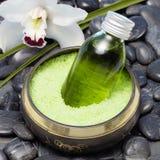 Thai singing bowl with flower Royalty Free Stock Image