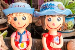 Thai Smile Clay Dolls Stock Photo