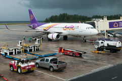 Thai Smiles Airways's airplane standby at the airport Royalty Free Stock Photos