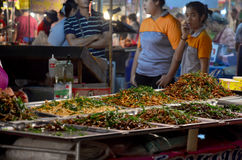 Thai snack many kind of deep fried insects at market Royalty Free Stock Images