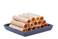 Thai snack rolled wafer Royalty Free Stock Images