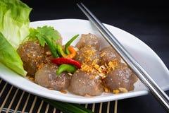 Free Thai Snack Sakoo Sai Moo Or Steamed Tapioca Balls Filled With Pork Recipe. Royalty Free Stock Photography - 180133977