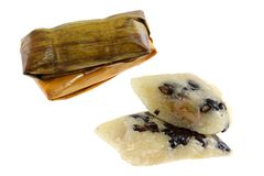 Thai snack :  Sticky rice with black beans and ban Royalty Free Stock Image