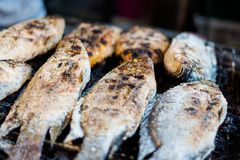 Thai snapper fish barbecue. Thai snapper fish coated with salt barbecue on local market in Bangkok. Traditional way of preparing fresh seafood in south east Asia royalty free stock photography