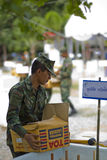 Thai soldier army carring a box. Army on duty doing so social work Stock Photos