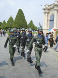 Thai soldiers marching with weapons. Stock Image