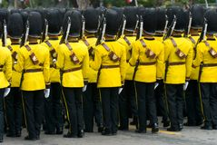 Thai soldiers in parade uniforms Royalty Free Stock Image