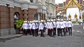 Thai soldiers in royal palace stock footage