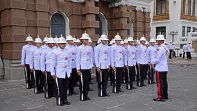 Thai soldiers in royal palace stock video footage
