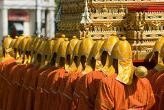 Thai soldiers in traditional uniforms Stock Photo