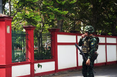 Thai soldiers walking go to checkpoint guardhouse for protect an Royalty Free Stock Image