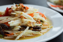 Thai somtum with crab. On soft focus Stock Image