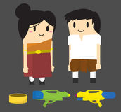 Thai Songkran Festival Character and assets Royalty Free Stock Photo