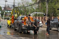 Thai Songkran Festival. Phon Phisai District Nongkhai Province, Thailand April / 13/2018 Buddhist temples in the city to bring the Buddha to parade around the stock photography