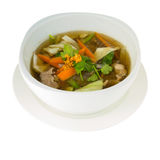 Thai Soup With Chenken and Vegetable (Tom Jued) isolated on whit Royalty Free Stock Photos