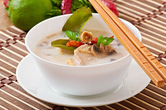Thai soup with chicken and mushrooms Royalty Free Stock Images
