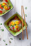 Thai soup with noodles and shrimp Stock Photography