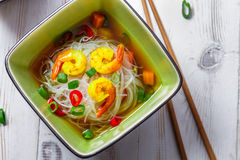 Thai soup with noodles and shrimp Royalty Free Stock Photography
