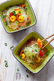 Thai soup with prawns and noodles Royalty Free Stock Photo