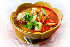 Thai soup with seafood Stock Images