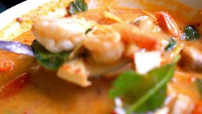 Thai soup, Shrimp And Mixed Vegetable in orange stock footage