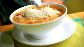 Thai soup, Shrimp And Mixed Vegetable in orange stock video footage