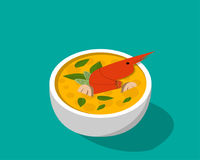 Thai soup with shrimp - Tom yum Kung in 3D vector. Design Royalty Free Stock Photos