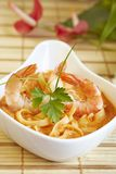Thai soup with shrimps. Thai spicy soup with noodles and shrimps Royalty Free Stock Photos